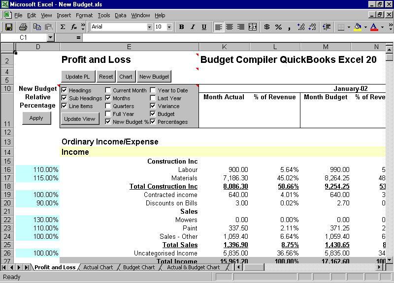 Download Budget Compiler QuickBooks Excel Format QuickBooks Profit