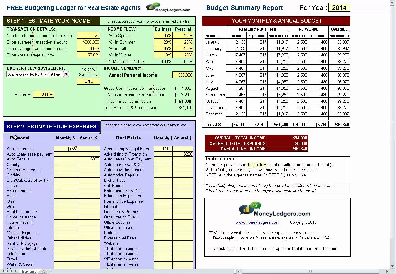 Free Budgeting Spreadsheet for Real Estate Agents | Bookkeeping