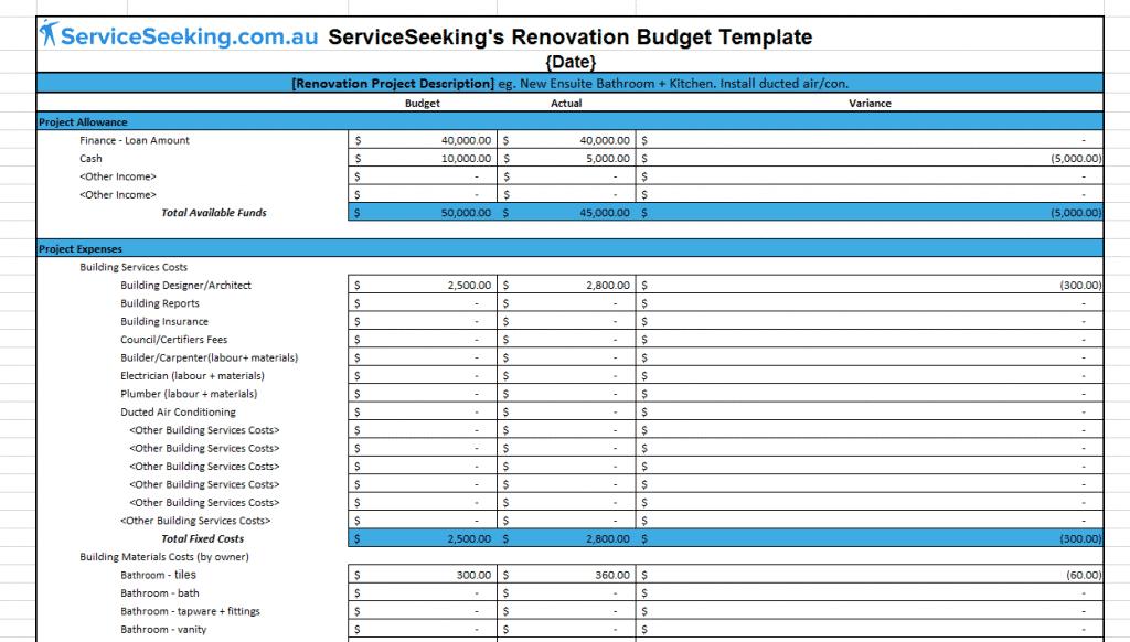 Renovation Budget Template | ServiceSeeking Blog