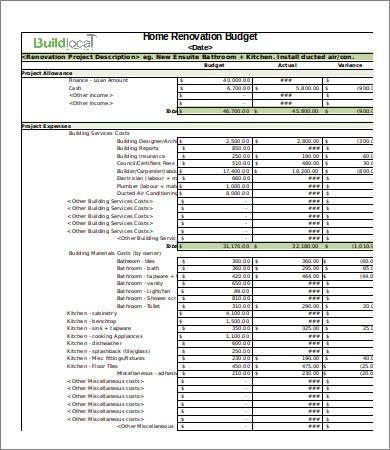 Basic Renovation Budget Template , 4 Renovation Budget Template