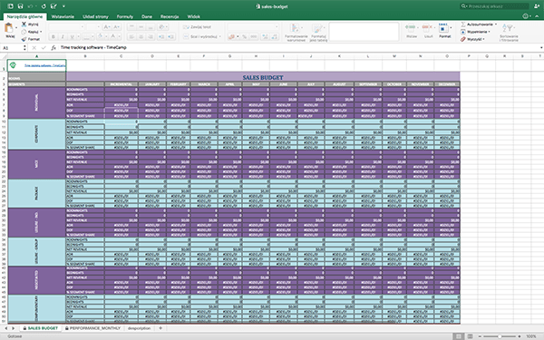 Free Excel Template Sales Budget