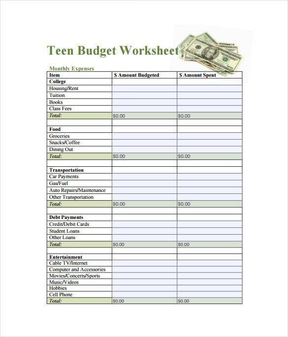 Teen Budget SpreadsheetPDF Template 1 1 , Spreadsheet Template
