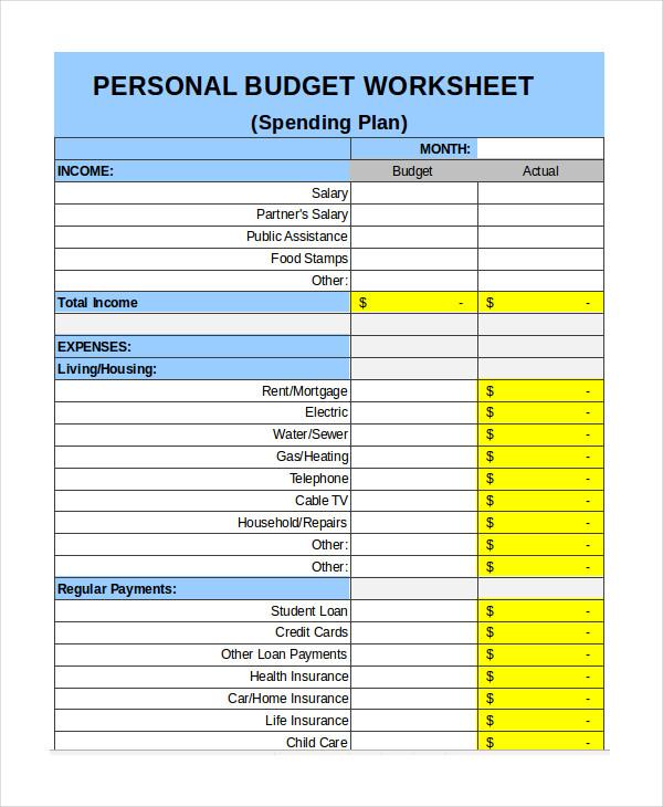 personal budget format   Monza.berglauf verband.com