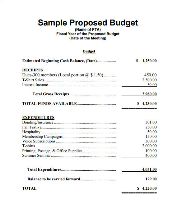 sample budget proposal   Monza.berglauf verband.com