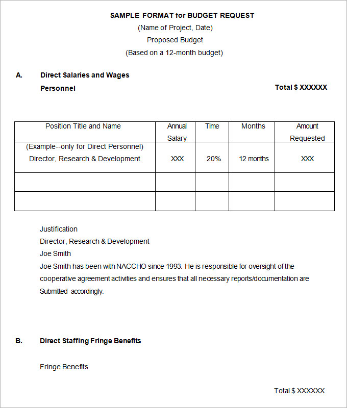 Budget Proposal Format (Sample)   Budget Templates