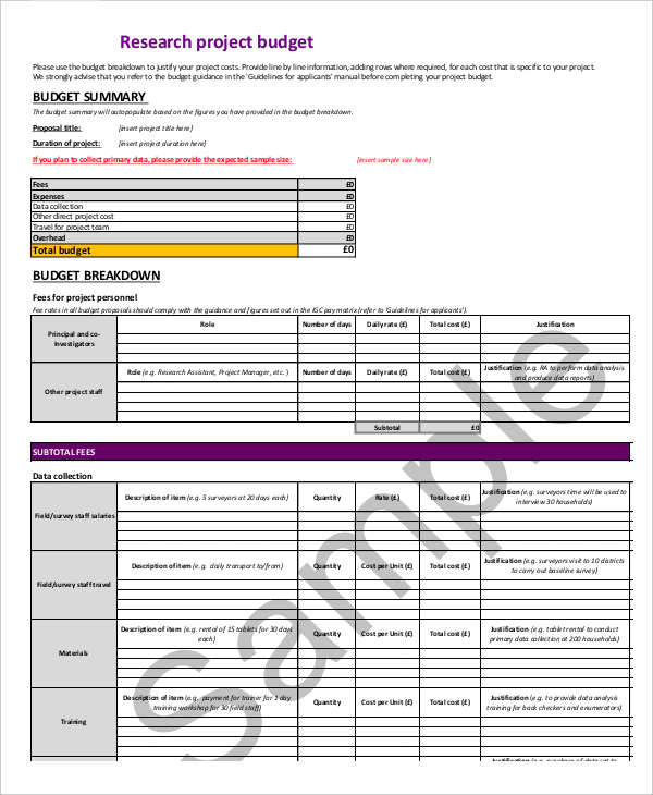 7+ Research Budget Templates   Word, PDF, Excel | Free & Premium