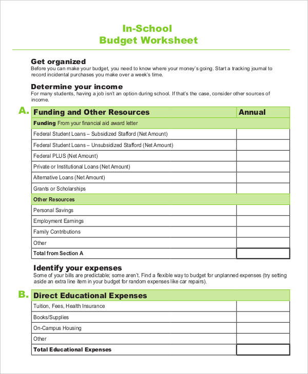 Spreadsheet Sample School Budget Template 100857 Best Photos Of