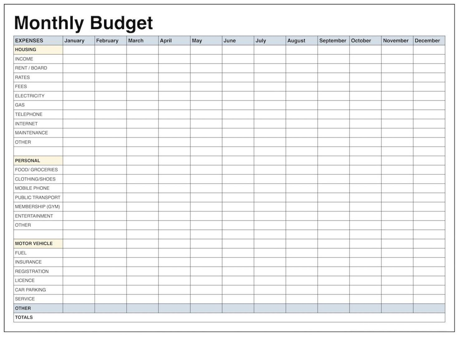 Blank Monthly Budget Template Pdf | Blank Templates | Budgeting