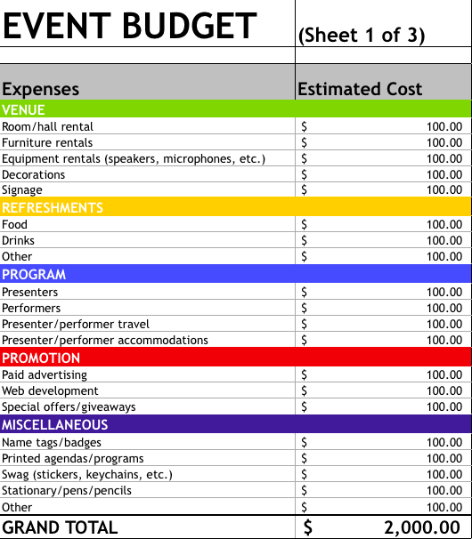 event budget sheet template   Monza.berglauf verband.com