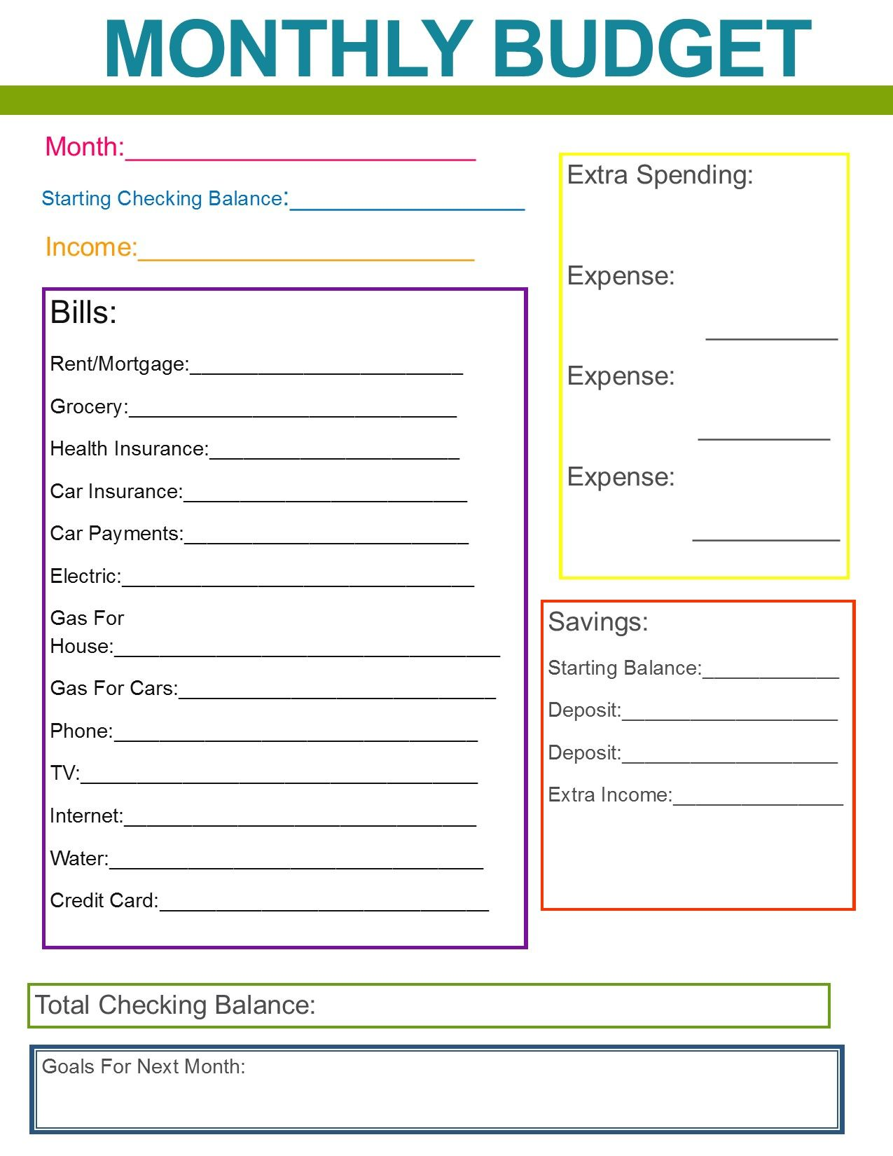 Free simple home budget template