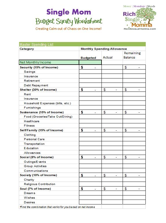 7 Free Single Mom Budget Worksheets | RichSingleMomma