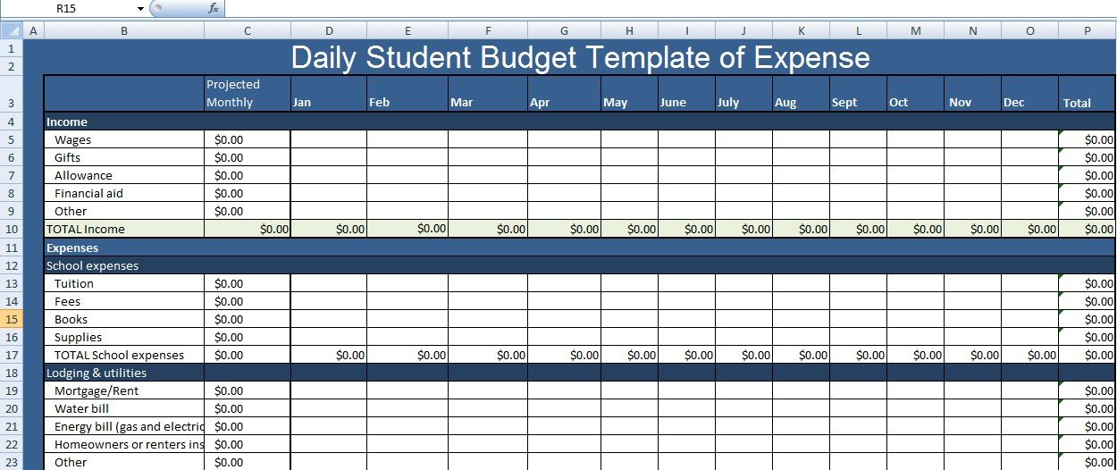 Daily Student Budget Template of Expense XLS | Excel Project