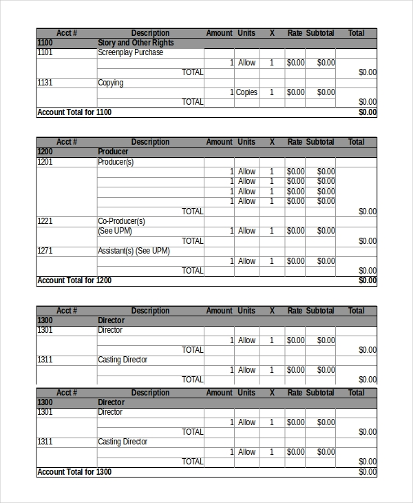 student film budget template 8 film budget templates word excel