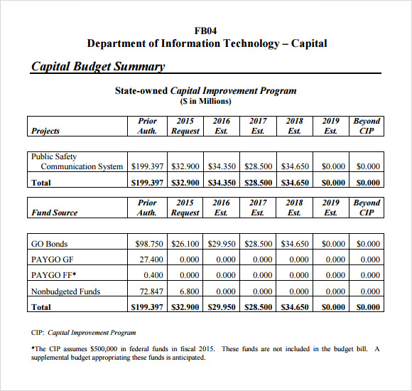 Budget Summary Template   18+ Free For Excel & PDF