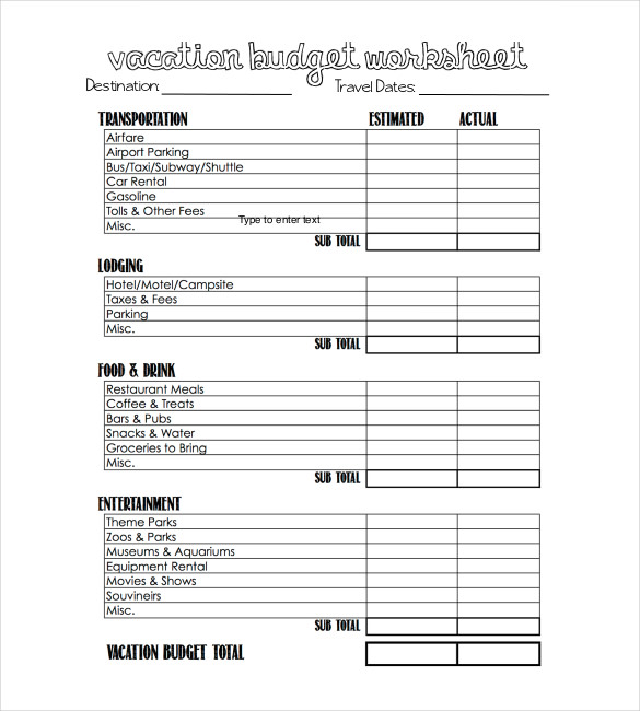 travel budget worksheet   Monza.berglauf verband.com