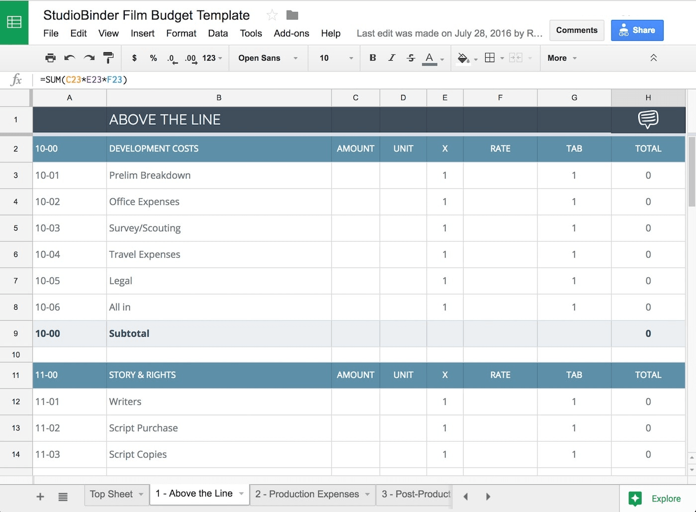 015 Plan Templates Film Budget Template Tv Singular Production