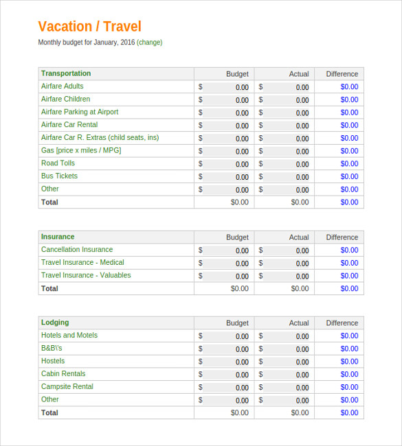 10+ Vacation Budget Templates   Docs, PDF   Free & Premium Templates