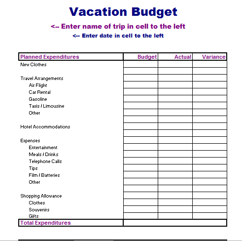Vacation Budget Template Excel XLSX Formated – Budgeting Excel