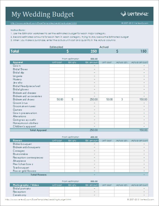wedding budget checklist template   Monza.berglauf verband.com