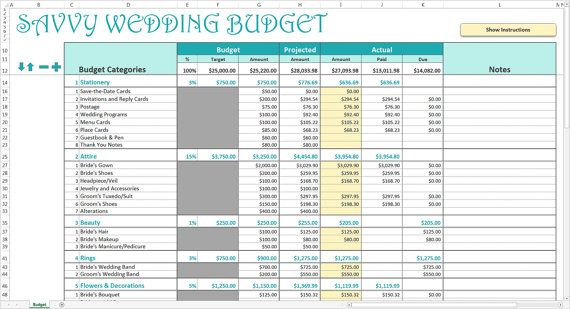 Savvy Wedding Budget   Excel Template | Editable Printable Wedding