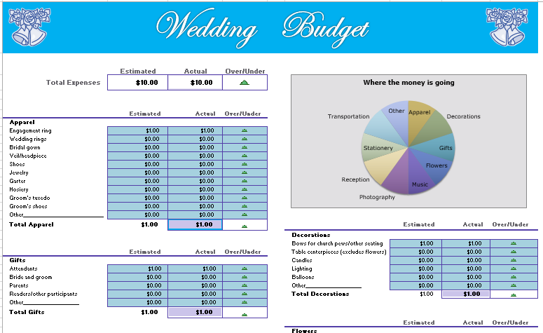 wedding budget calculator template | Budget Templates | Wedding
