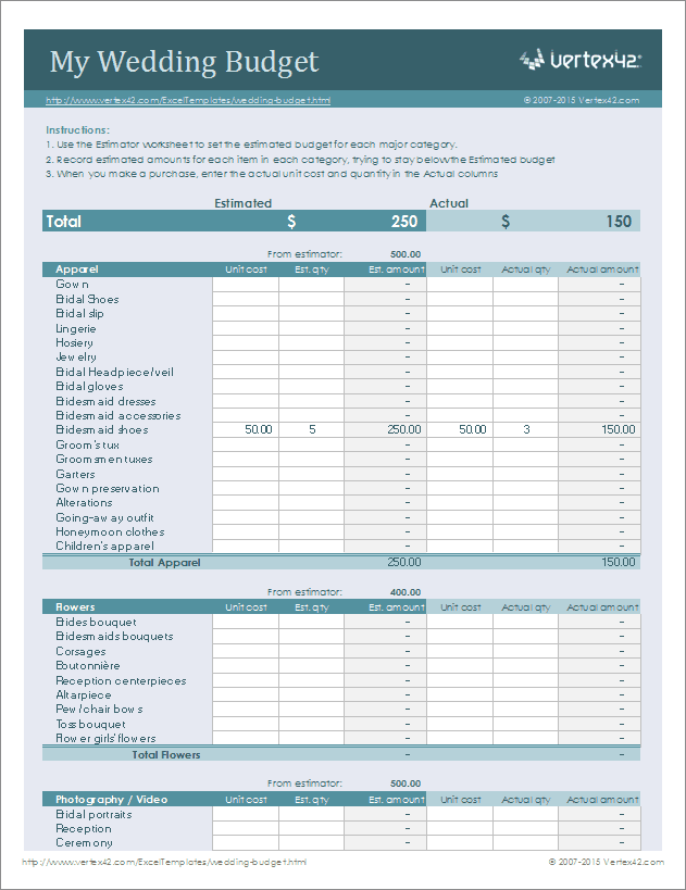 Free Wedding Budget Worksheet   Printable and Easy to Use