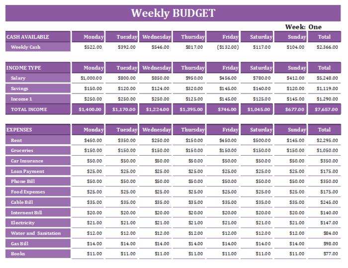 16+ Free Weekly Budget Templates   MS Office Documents