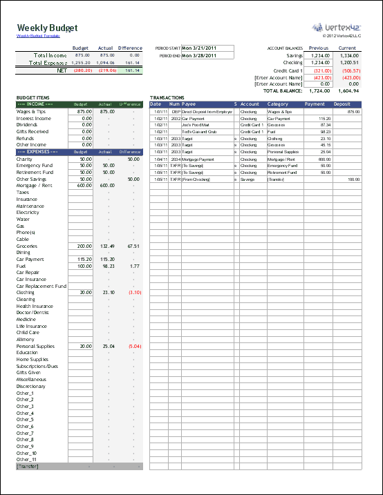 This free weekly budget template includes everything you need on a
