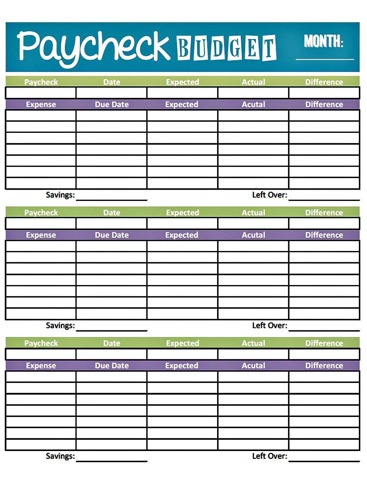 budget worksheet printable | get paid weekly and Charlie gets paid