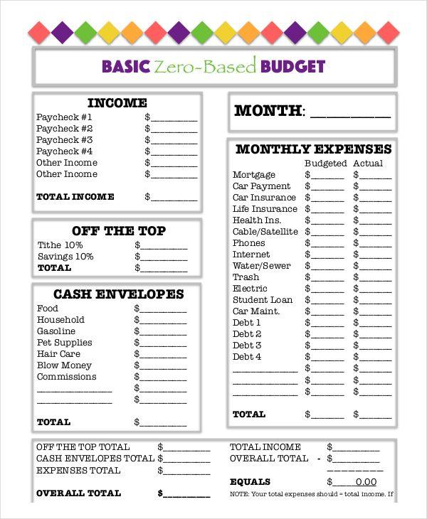 basic zero based budget worksheet template download | Budget