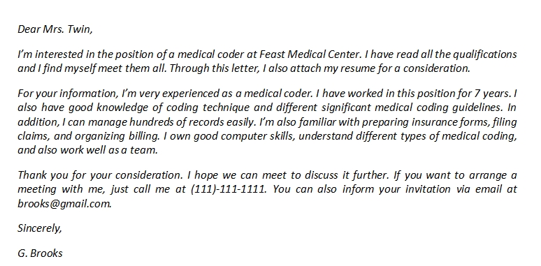 Medical Coder Cover Letter And Its Sample Template Creator