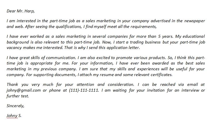 Part Time Job Cover Letter And Its Sample Template Creator
