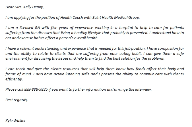 Health Coach Cover Letter And The Sample Template Creator