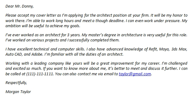 Architect Cover Letter Examples And Its Sample Template Creator