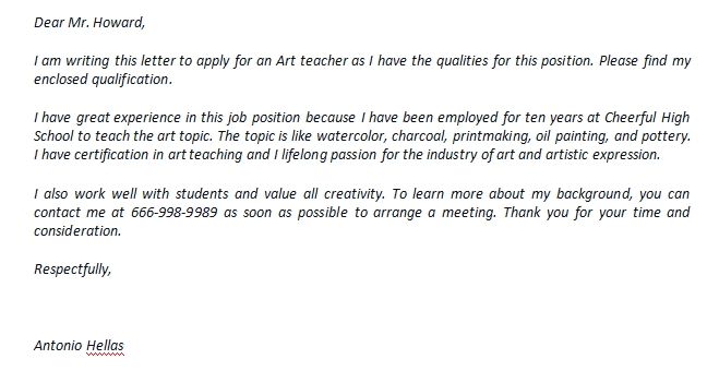 Art Teacher Cover Letter And The Example Template Creator