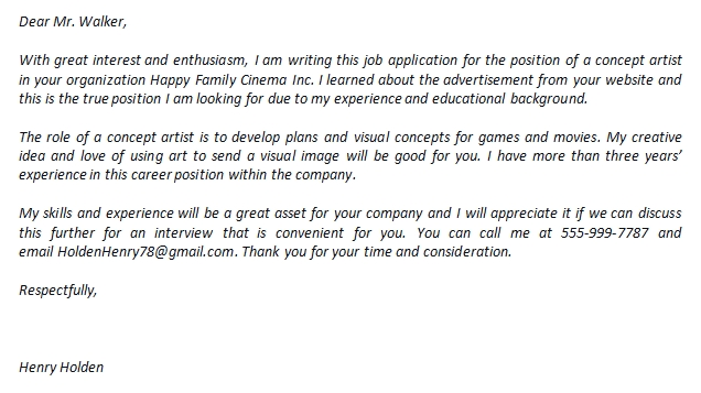 Concept Artist Cover Letter And Its Great Sample Template Creator