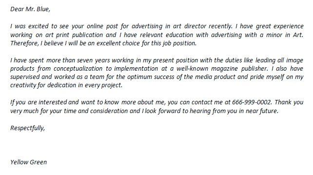 Art Director Cover Letter And Its Great Example Template Creator