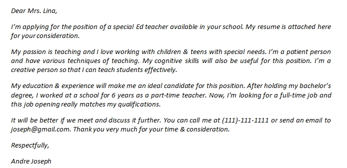 Special Ed Teacher Cover Letter And Its Sample Template Creator