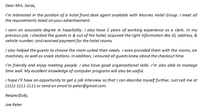 Hotel Front Desk Agent Cover Letter And Its Sample Template Creator